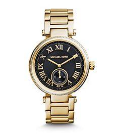 Skylar Black and Gold-Tone Bracelet Watch by Michael Kors