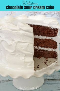 Chocolate Sour Cream Cake Recipe from Scratch by MyCakeSchool.com! This chocolate cake recipe is the BEST!