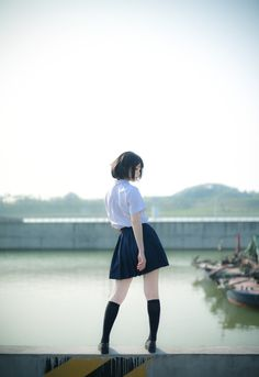 lo-fi beats, hi-fi girls a. Japanese School Uniform, Asian Girl, High Waisted Skirt, Mini Skirts, Cute, Model, Beats, Girls, Fashion