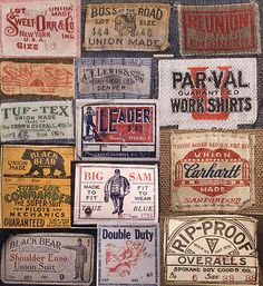 vintage workwear labels.