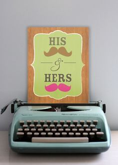 His & Her Mustaches 8x10 Fine Art Print by YellowHeartArt on Etsy