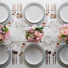 Sunday brunch With our Dusty Blue Lace Chargers + Heath Ceramics in Opaque White + Moon Flatware in Brushed Rose Gold + Chloe 24k Gold Rimmed Stemware + White Enamel/Copper Salt Cellars + Tiny Copper Spoons #cdp3x3