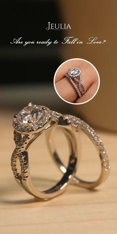 Jeulia Twist Halo Round Cut Created White Sapphire Wedding Set