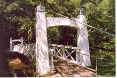 Wire suspension foot bridge built 1938 by WPA over the  Perkiomen Creek, in Perkasie, PA. Photo taken 2009