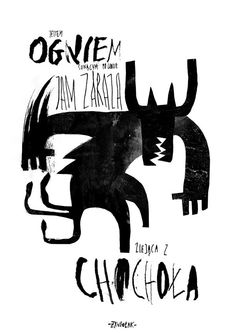 Polski - The line and shape reminded me of the work of A.R Penck, however the use of typography relates it more to the use of zines.