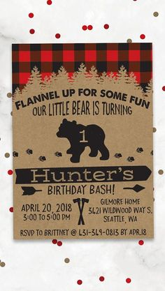Your little boy only turns one once, so make it a birthday to remember! Gather friends and loved ones for a sweet celebration with our lumberjack themed invitations. First Birthday Themes, Baby Boy 1st Birthday, Boy Birthday Parties, Birthday Ideas, Lumberjack Birthday Party, Tractor Birthday, Boy Birthday Pictures, 1st Birthdays, Birthday Invitations