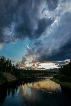 Storm clouds coming at Flathead River in Glacier National Park.