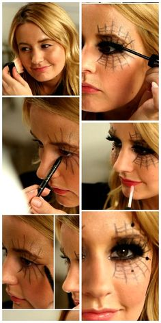13 Spooky Halloween Makeup Ideas - no costume required!- 13 Spooky Halloween Makeup Ideas – no costume required! Black Widow With your mascara, you can create a magical… - Mascaras Halloween, Halloween Eye Makeup, Halloween Eyes, Girl Halloween, Black Widow Costume Spider, Diy Spider Costume, Black Widow Halloween Costume, Black Costume, Black Widow Makeup