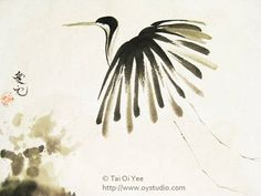 sumi painting japanese crane - Google Search