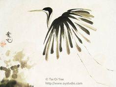 sumi painting japanese crane - Google Search