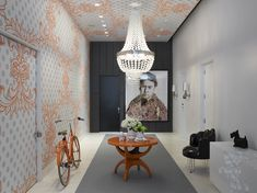 ENTRY [ wallpaper on one wall and ceiling + dark painted furthest wall and one wall in white ] Ghislaine Viñas interior design