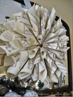 DIY sheet music  wreath