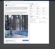 Esimerkki Facebook-päivityksestä sekä julkaisun analytiikkaotos. // An example of a Facebook post and analytics beside. #Facebook #analytics #content #SocialMedia #LeviLapland #Levi #MarikaWork