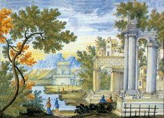 Anastasio Grue (Castelli, 1691 - 1742), Mattonella: Marina con rovine, torre fortificata e figure