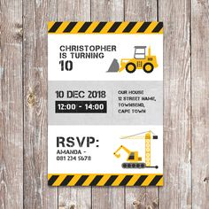 This theme is explosive! Dump everything and grab our adorable construction themed printables. Product Includes: Invitation size / Prints 1 invitation per page) Construction Party Invitations, A6 Size, Street Names, Cupcake Wrappers, Party In A Box, Party Printables, Rsvp