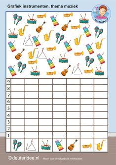 Eenvoudige grafiek voor kleuters, tel de instrumenten, kleuteridee.nl, Kindergarten math music game, graphic, free printable.