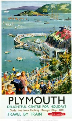Inch Print - High quality print (other products available) - Poster, BR (WR), Plymouth Delightful Centre for Holidays, by Harry Riley - Image supplied by National Railway Museum - Photo Print made in the USA Posters Uk, Train Posters, Retro Poster, Railway Posters, Vintage Travel Posters, Frames For Posters, Retro Print, England Travel Poster, British Travel