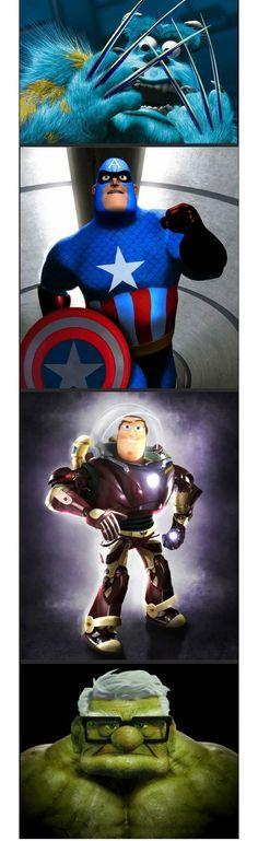 :D todos los #avengers mezclados con #pixar jaja