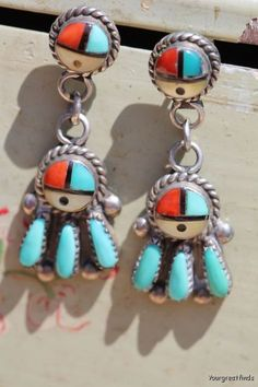 Vintage Signed Zuni Sterling Silver & Genuine Turquoise Sunface Petit Point Earrings, signed by Zuni artist E A Zunie