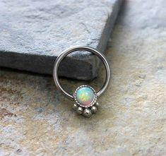White Opal Fire Conch Hoop Earring Septum Cartilage by Purityjewel