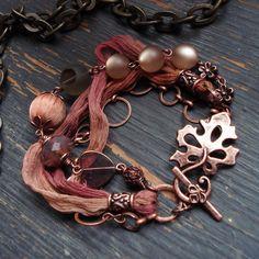 One of my favourite makes - I've used silk shiffon but sari .- One of my favourite makes – I've used silk shiffon but sari silk would work well too. Ribbon Jewelry, Metal Jewelry, Jewelry Crafts, Jewelry Art, Beaded Jewelry, Jewelry Design, Fabric Bracelets, Fabric Necklace, Jewelry Bracelets