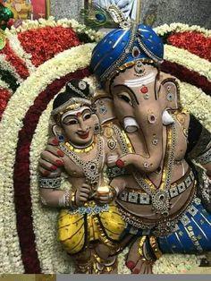 Ganesha Painting, Tanjore Painting, Ganesha Art, Lord Ganesha, Baby Ganesha, Sri Ganesh, Cute Krishna, Durga Goddess, Hindu Art
