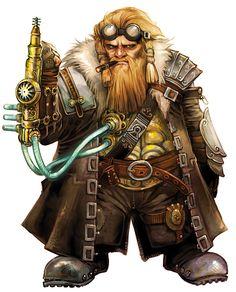 Character art for Pathfinder RPG fantasy, dwarf, portrait, steampunk, tech by Eva Widermann Fantasy Dwarf, Fantasy Rpg, Medieval Fantasy, Fantasy Heroes, Steampunk Characters, Dnd Characters, Fantasy Characters, Fantasy Inspiration, Character Inspiration