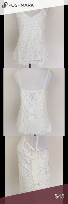 """🌸🆕 Floral Lace Tank Top🌺💐 Floral lace tank top by Lauren Ralph Lauren, shell viscose/nylon/cotton blend, straps have an eleganr velour texture, lined, side zipper closure, armpit to armpit 18"""" lenght 26"""" from top of strap to bottom, Size 6 NWT Ivory color Lauren Ralph Lauren Tops Tank Tops"""
