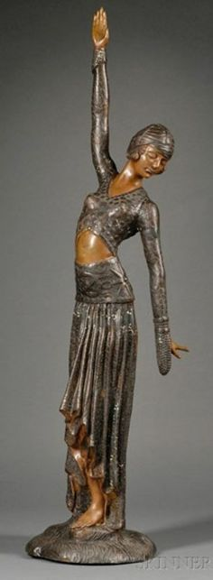 Chiparus style patinated bronze sculpture of an Art Deco Dancer, 20th c.