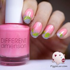 Freehand spring leaves nail art #pinkmani #frenchmani  #spring #nailart - bellashoot.com