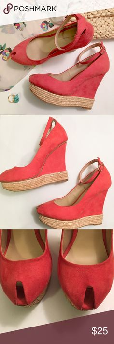"""Zara Pink Suede Peep Toe Wedge Oh my! These are so amazing! Coral pink faux suede espadrille wedge from Zara Basic. Small mark on left side of left heel pictured above. Otherwise perfect. Size 37 Euro, US 6.5.  Heel height: 4.5"""" No trades. Offers welcome. Bundle and save 20% Zara Shoes Wedges"""