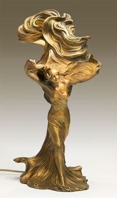 Raoul Larche - Photo of a Loie Fuller Cast Bronze & Fire Guilded Lamp by Raoul Larch