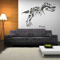 You're Never Too Old For a T Rex! We'd have this in the living room! GIANT TREX Dinosaur Kids Room Vinyl Wall Art by ModernDecals, $48.00