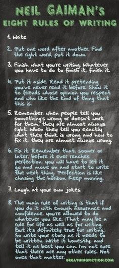 Writers Write shares writing tips and resources. In this post, we share novelist, Neil Gaiman's 8 rules for writing fiction. Book Writing Tips, Writing Process, Writing Quotes, Writing Resources, Teaching Writing, Writing Help, Writing Skills, Writer Tips, Writing Ideas