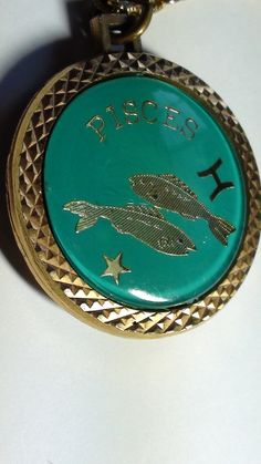 Gold Plated Pisces Horoscope Zodiac Pendant by LuisBlindFinds