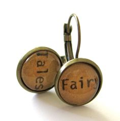 Fairy Tales Acorn Brown Reclaimed Library Card Word by writtennerd, $25.00