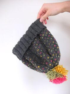 Checkered Hat //beanie, pink, yellow, green, pom pom, cute, gray//