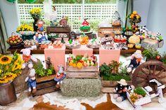 festinha-fazendinha-fete-01 Farm Birthday, Baby First Birthday, Birthday Parties, Cowgirl Party, Farm Party, Country Farm, Toy Store, First Birthdays, Party Themes
