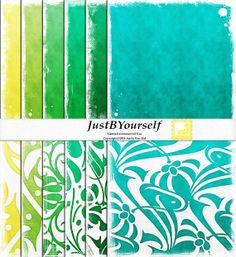 Bold and Beautiful 12 x 12 Digital Scrapbook Paper set of 12 by JustBYourself in yellow, green, and turquoise