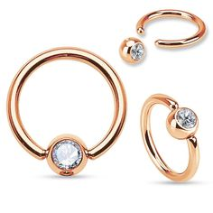 Rose Gold Captive Hoop 16ga Stainless Steel Body Jewelry  White Gem - BodyDazzle
