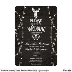 Rustic Country Deer Antlers Wedding Card