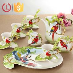 Porcelain enamel lovely 16pcs design parrot Coffee tea set for decoration, View Enamel coffee tea set, YOU LAI FU Product Details from Shenzhen Youlaifu Household Company Limted on Alibaba.com