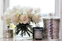 """the-crown-queen: """" White roses and Diptyque candles """" Fresco, Diptyque Candles, Scented Candles, Romantic Bedroom Decor, Boho Stil, Home Interior, Interior Design, Interior Styling, Interior Decorating"""
