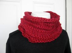 Wool Cowl  Cranberry Red by SimpleKnitShop on Etsy