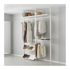IKEA - ELVARLI, 2 secções, Prateleiras e varões ajustáveis permitem adaptar o espaço de acordo com as suas necessidades.A solução de arrumação aberta pode ser colocada contra uma parede ou usada como divisória de um espaço, uma vez que os postes se fixam ao teto.