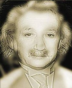 Visual illusion. Psychology. Look carefully at this picture of Albert Einstein. Keep your eyes on the picture and slowly take a few steps backward. The picture will change to Marilyn Monroe.