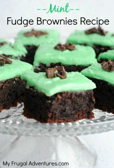 Mint Fudge Brownies Recipe - So easy and really delicious!  Perfect for St Patrick's Day!