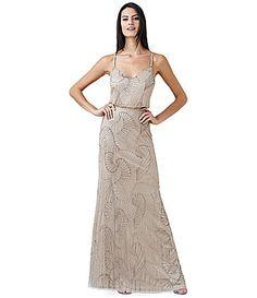 Rosegold Long Beaded Dress By Adrianna PapellOutlet Designer Evening Gowns, Designer Dresses, Evening Dresses, Bridesmaid Dresses, Prom Dresses, Formal Dresses, Wedding Dresses, Reception Dresses, Bridesmaids