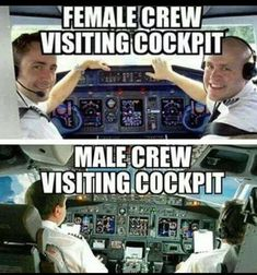 Female crew visiting cockpit; Male crew visiting cockpit.