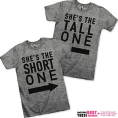 She's the Short One She's the Tall One Best Friends Shirts ($55) ❤ liked on Polyvore featuring tops, t-shirts, black, women's clothing, black top, loose fitting t shirts, short shirts, black t shirt et black tee